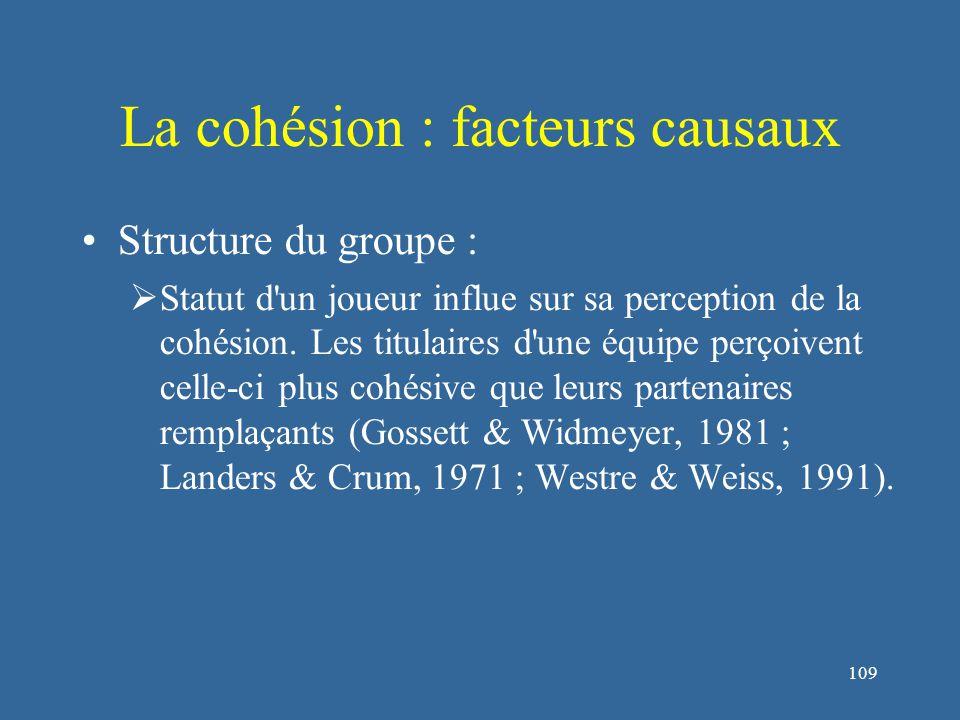 110 La cohésion : facteurs causaux Processus du groupe :  La nature des objectifs collectifs des équipes influe sur le type de cohésion développée (Anderson, 1975 ; Zander, 1971) Objectif opérationnelCohésion opératoire Objectif socialCohésion sociale