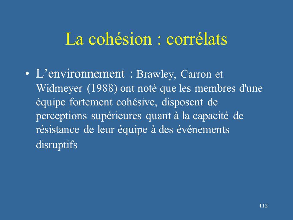 112 La cohésion : corrélats L'environnement : Brawley, Carron et Widmeyer (1988) ont noté que les membres d une équipe fortement cohésive, disposent de perceptions supérieures quant à la capacité de résistance de leur équipe à des événements disruptifs