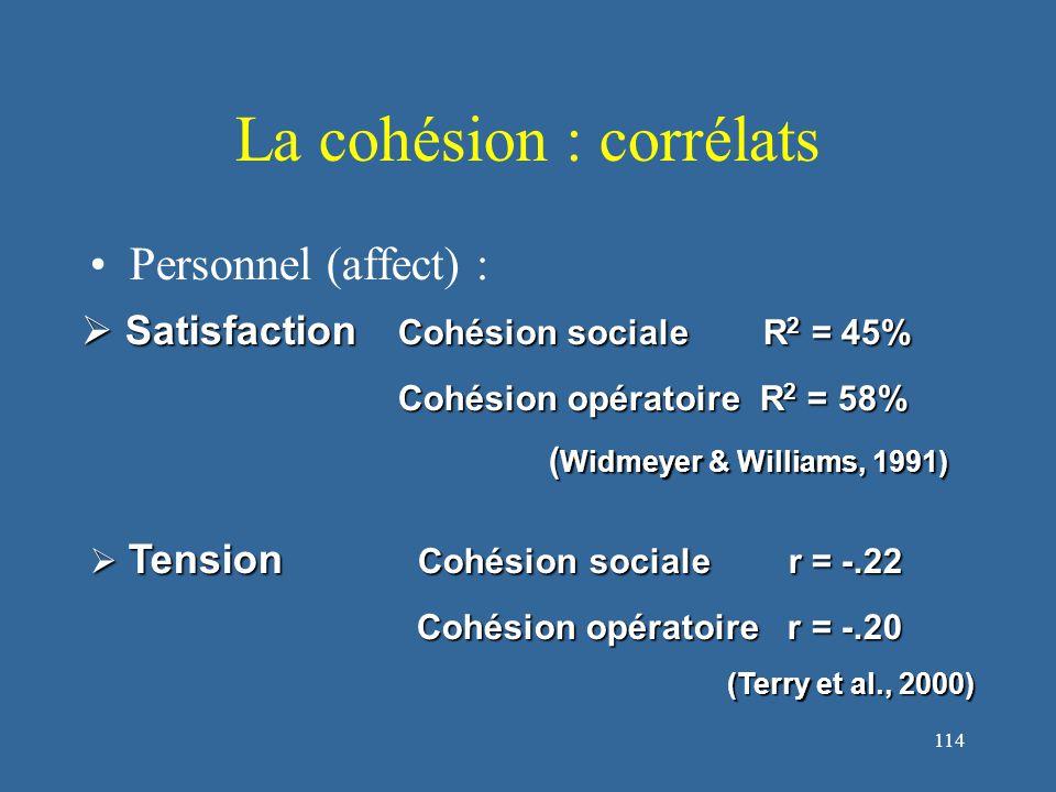 114 La cohésion : corrélats Personnel (affect) :  Satisfaction Cohésion sociale R 2 = 45% Cohésion opératoire R 2 = 58% ( Widmeyer & Williams, 1991) ( Widmeyer & Williams, 1991)  Tension Cohésion sociale r = -.22 Cohésion opératoire r = -.20 Cohésion opératoire r = -.20 (Terry et al., 2000)