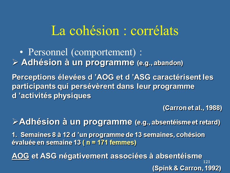 121 La cohésion : corrélats Personnel (comportement) :  Adhésion à un programme (e.g., abandon) Perceptions élevées d 'AOG et d 'ASG caractérisent les participants qui persévèrent dans leur programme d 'activités physiques (Carron et al., 1988) (Carron et al., 1988)  Adhésion à un programme (e.g., absentéisme et retard) 1.