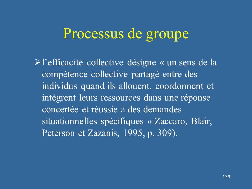 133 Processus de groupe  l'efficacité collective désigne « un sens de la compétence collective partagé entre des individus quand ils allouent, coordonnent et intègrent leurs ressources dans une réponse concertée et réussie à des demandes situationnelles spécifiques » Zaccaro, Blair, Peterson et Zazanis, 1995, p.