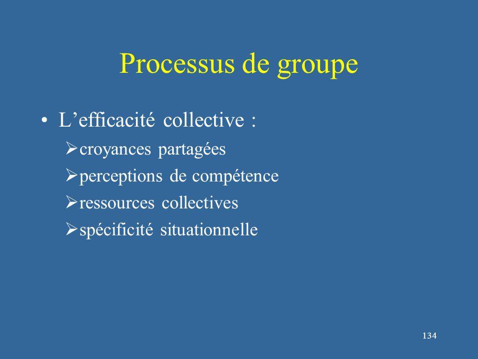 134 Processus de groupe L'efficacité collective :  croyances partagées  perceptions de compétence  ressources collectives  spécificité situationnelle