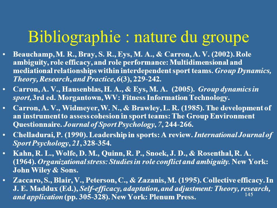 145 Bibliographie : nature du groupe Beauchamp, M.