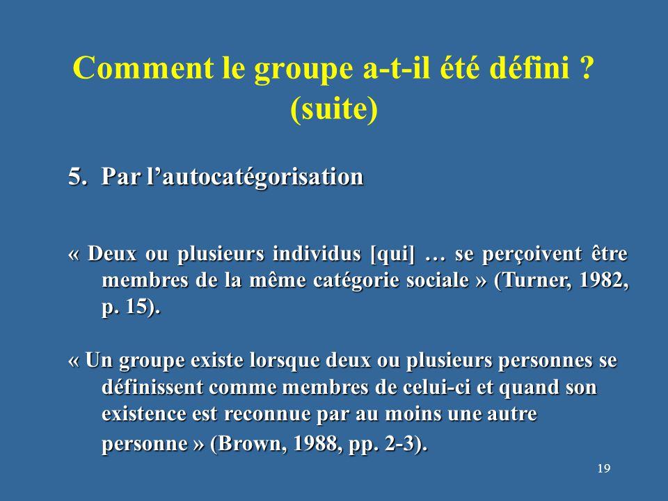 19 Comment le groupe a-t-il été défini . (suite) 5.
