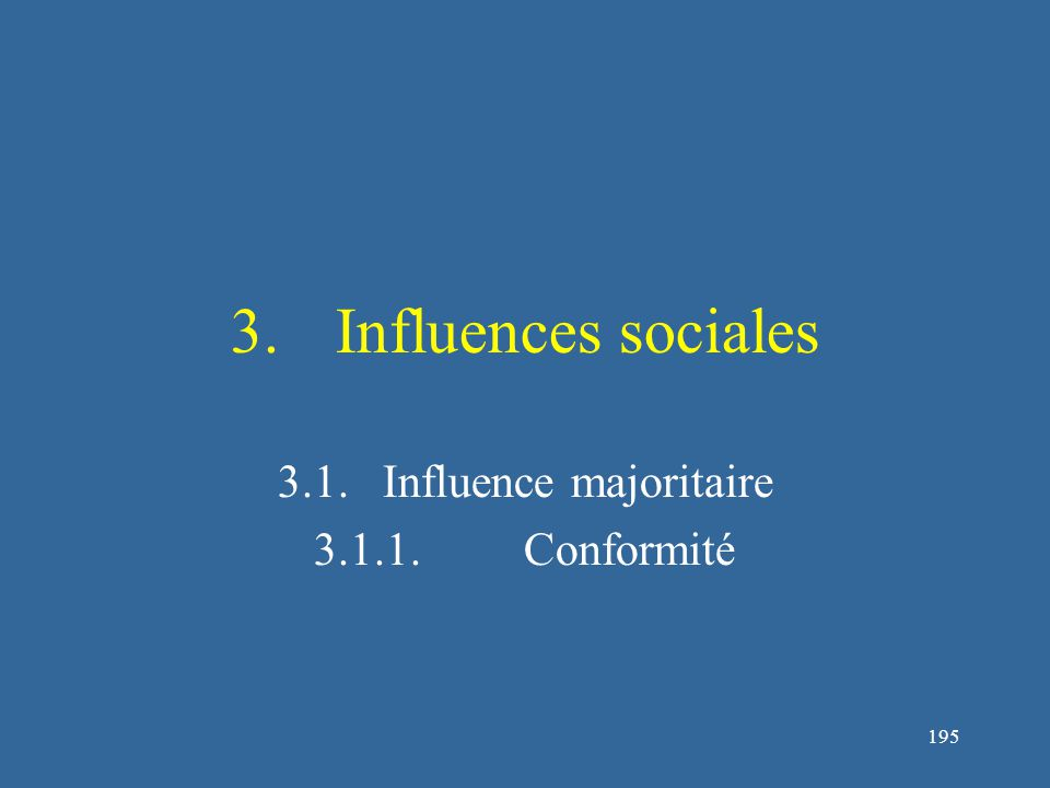 195 3.Influences sociales 3.1.Influence majoritaire 3.1.1.Conformité