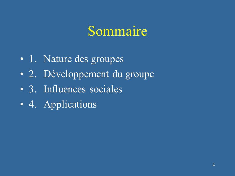 2 Sommaire 1.Nature des groupes 2.Développement du groupe 3.Influences sociales 4.Applications