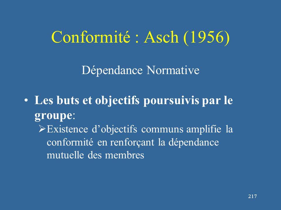 217 Conformité : Asch (1956) Dépendance Normative Les buts et objectifs poursuivis par le groupe:  Existence d'objectifs communs amplifie la conformité en renforçant la dépendance mutuelle des membres