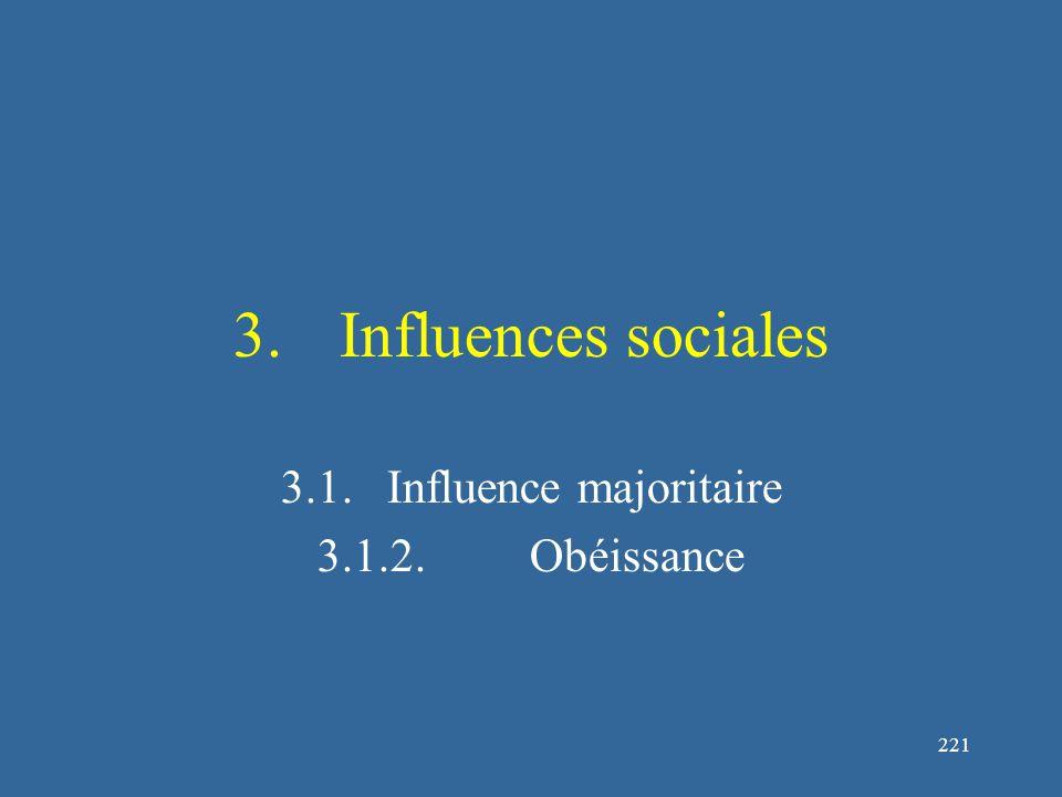 221 3.Influences sociales 3.1.Influence majoritaire 3.1.2.Obéissance