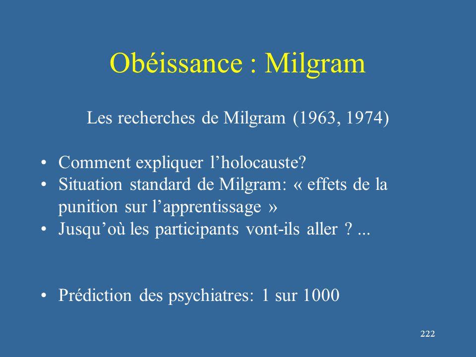 222 Obéissance : Milgram Les recherches de Milgram (1963, 1974) Comment expliquer l'holocauste.
