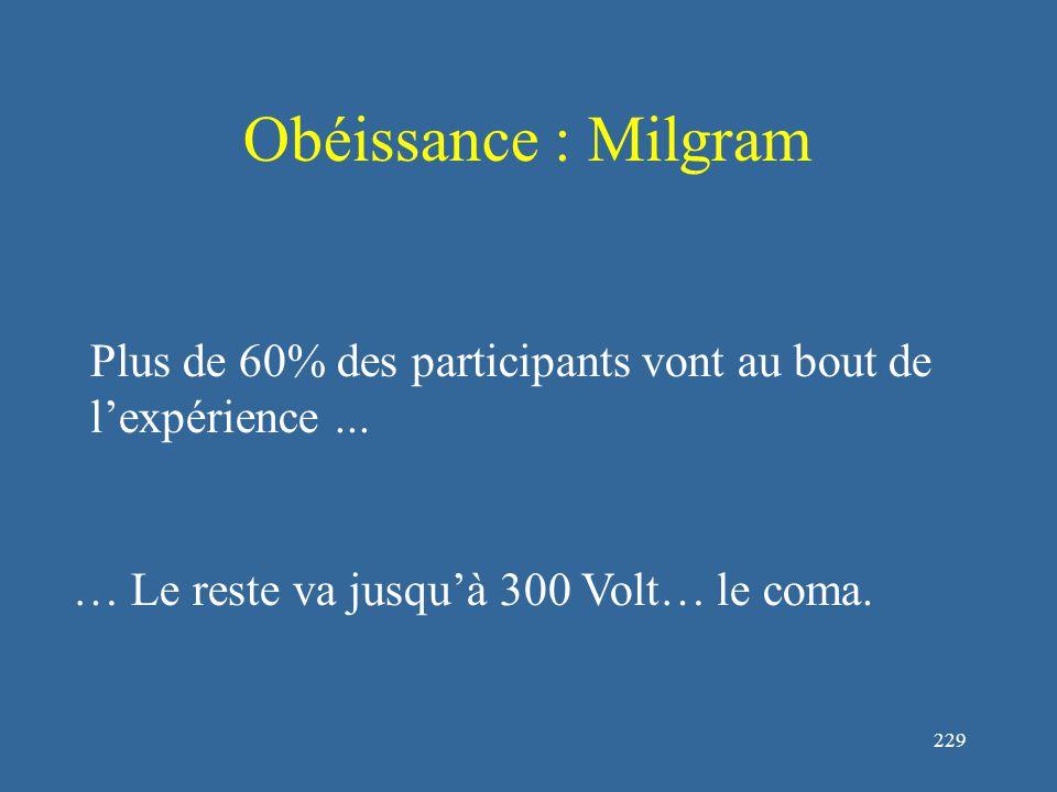 230 Obéissance : Milgram Les résultats obtenus découlent des circonstances plus que de la personnalité des participants Est-il possible, que les sujets d'expérience aient remarqué quelque-chose.