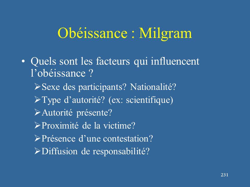 232 Obéissance : Milgram 0 20 40 60 80 100 PrédictionHommesFemmes % d obéissance Prévisions et % réel d'obéissance selon le sexe (Milgram, 1974)