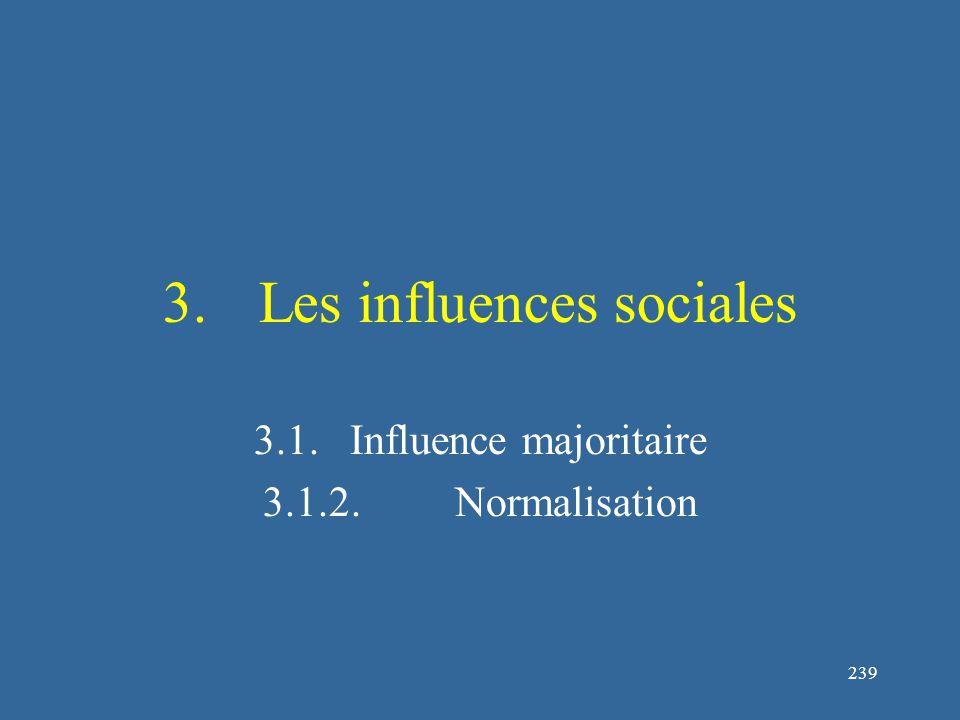 239 3.Les influences sociales 3.1.Influence majoritaire 3.1.2.Normalisation