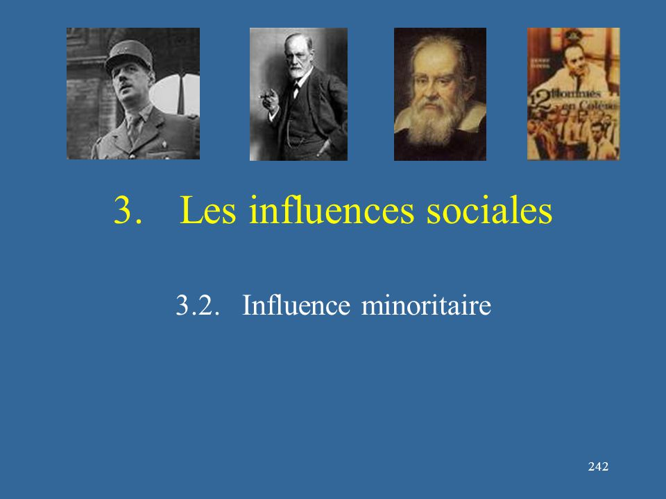 242 3.Les influences sociales 3.2.Influence minoritaire