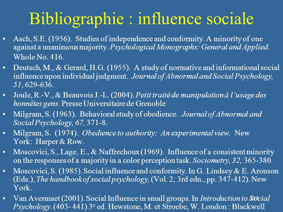245 Bibliographie : influence sociale Asch, S.E. (1956). Studies of independence and conformity. A minority of one against a unanimous majority. Psych