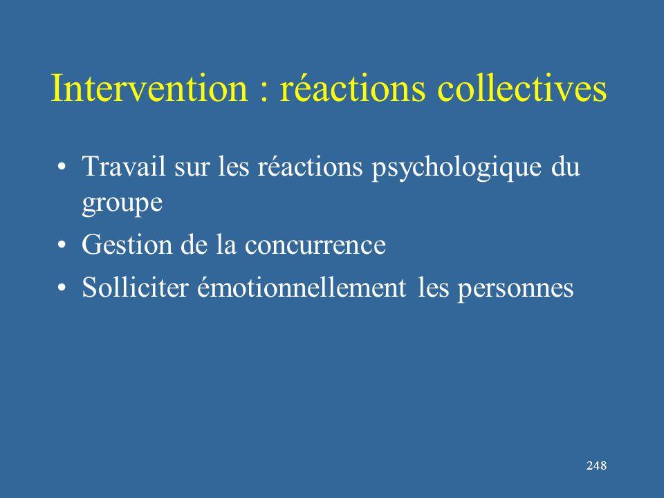 248 Intervention : réactions collectives Travail sur les réactions psychologique du groupe Gestion de la concurrence Solliciter émotionnellement les personnes