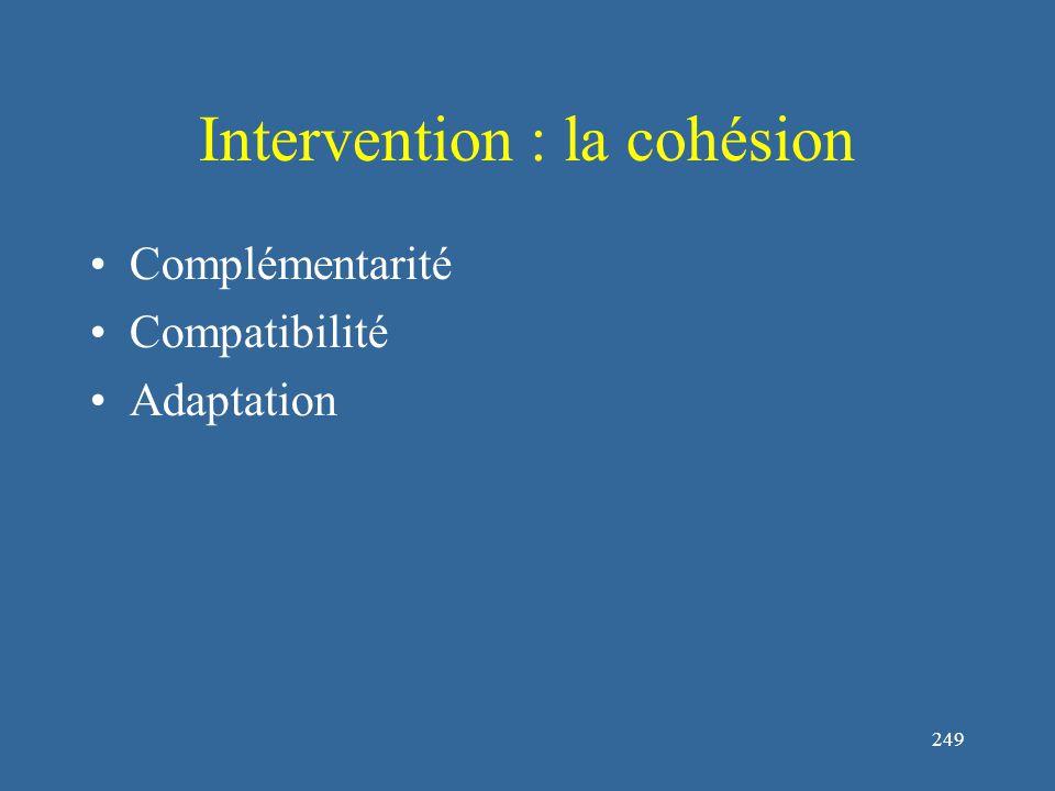 250 Intervention : la cohésion Communiquer efficacement : Yukelson (1997) à proposé le DESC pour communiquer efficacement : décrire (la situation), exprimer (ces sentiments), spécifier (les changements qui doivent avoir lieu) et connaître les Conséquences Expliquer le rôle individuel dans le succès de l'équipe Développer la fierté à l'intérieur d'une sous unité Élaborer des challenges de buts de groupes.