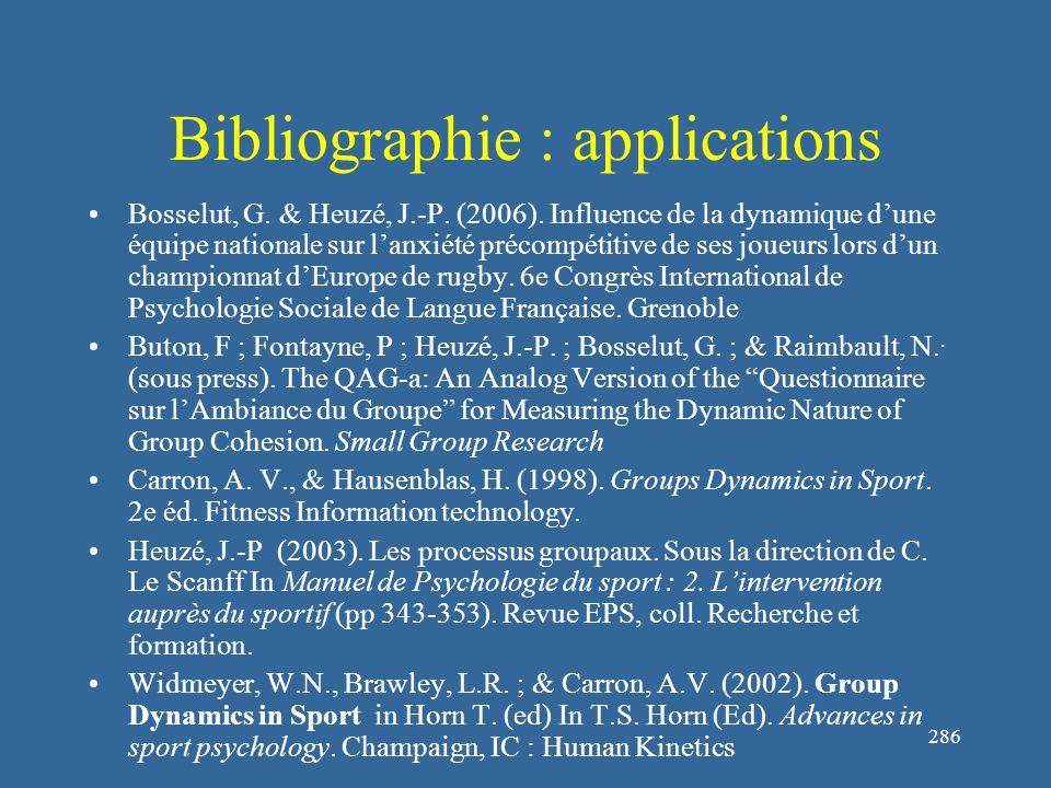 286 Bibliographie : applications Bosselut, G. & Heuzé, J.-P.