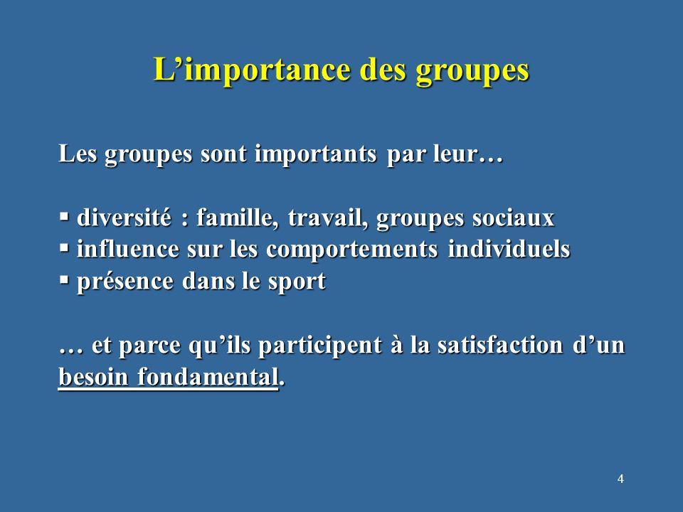 4 L'importance des groupes Les groupes sont importants par leur…  diversité : famille, travail, groupes sociaux  influence sur les comportements individuels  présence dans le sport … et parce qu'ils participent à la satisfaction d'un besoin fondamental.