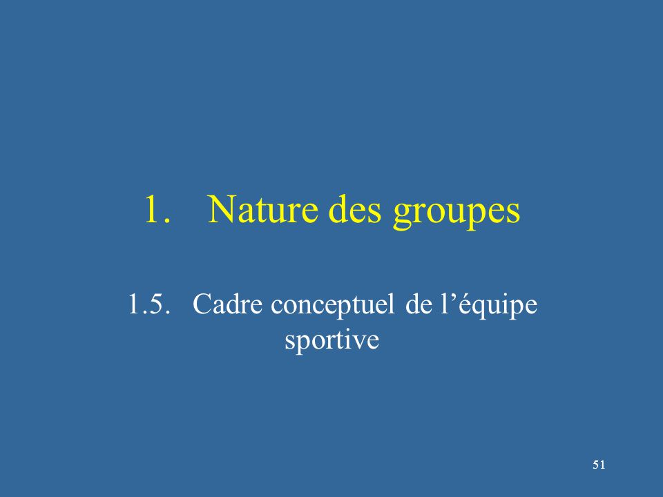 52 Cadre conceptuel des équipes sportives (Carron & Hausenblas, 1998) Attributs des membres Environnement du groupe Environnement du groupe Résultats individuels Résultats individuels Résultats collectifs Résultats collectifs