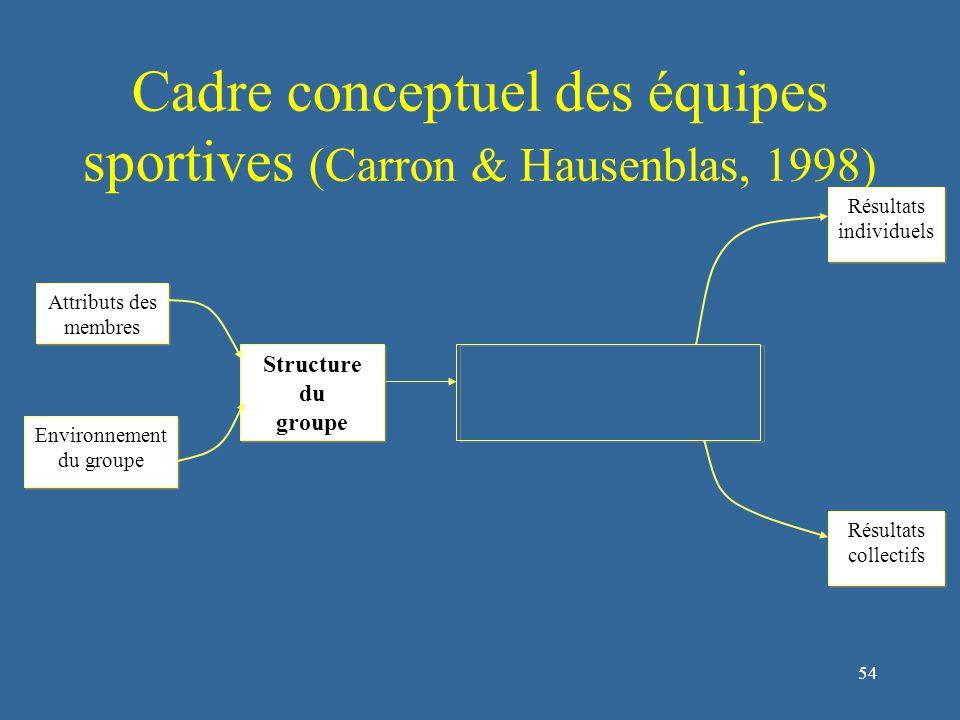 54 Cadre conceptuel des équipes sportives (Carron & Hausenblas, 1998) Structure du groupe Structure du groupe Attributs des membres Environnement du groupe Environnement du groupe Résultats individuels Résultats individuels Résultats collectifs Résultats collectifs