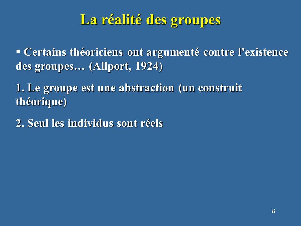 6 La réalité des groupes Certains théoriciens ont argumenté contre l'existence des groupes… (Allport, 1924)  Certains théoriciens ont argumenté contre l'existence des groupes… (Allport, 1924) 1.