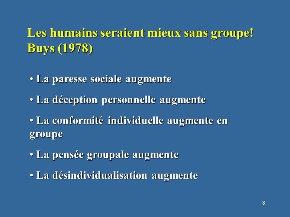 8 Les humains seraient mieux sans groupe.