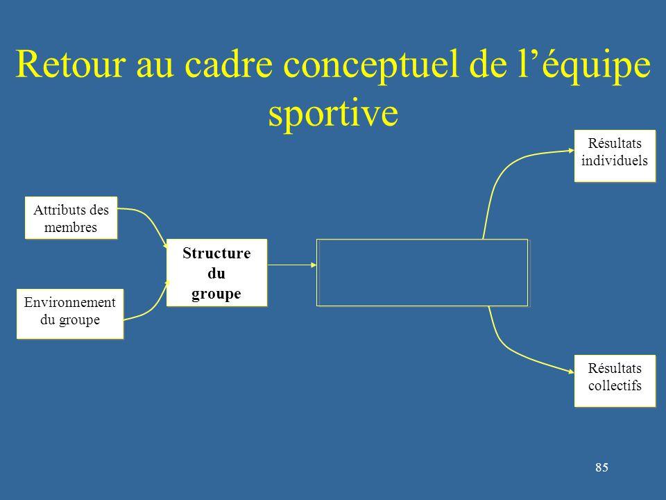 85 Retour au cadre conceptuel de l'équipe sportive Structure du groupe Structure du groupe Attributs des membres Environnement du groupe Environnement du groupe Résultats individuels Résultats individuels Résultats collectifs Résultats collectifs