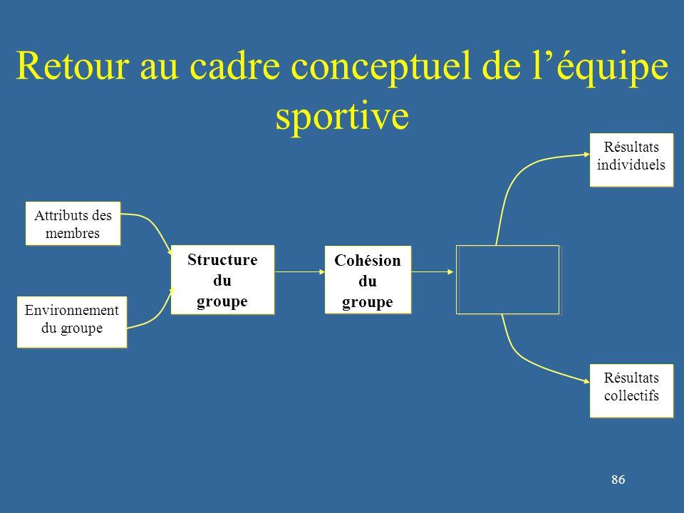 86 Retour au cadre conceptuel de l'équipe sportive Structure du groupe Structure du groupe Cohésion du groupe Cohésion du groupe Attributs des membres Environnement du groupe Environnement du groupe Résultats individuels Résultats individuels Résultats collectifs Résultats collectifs