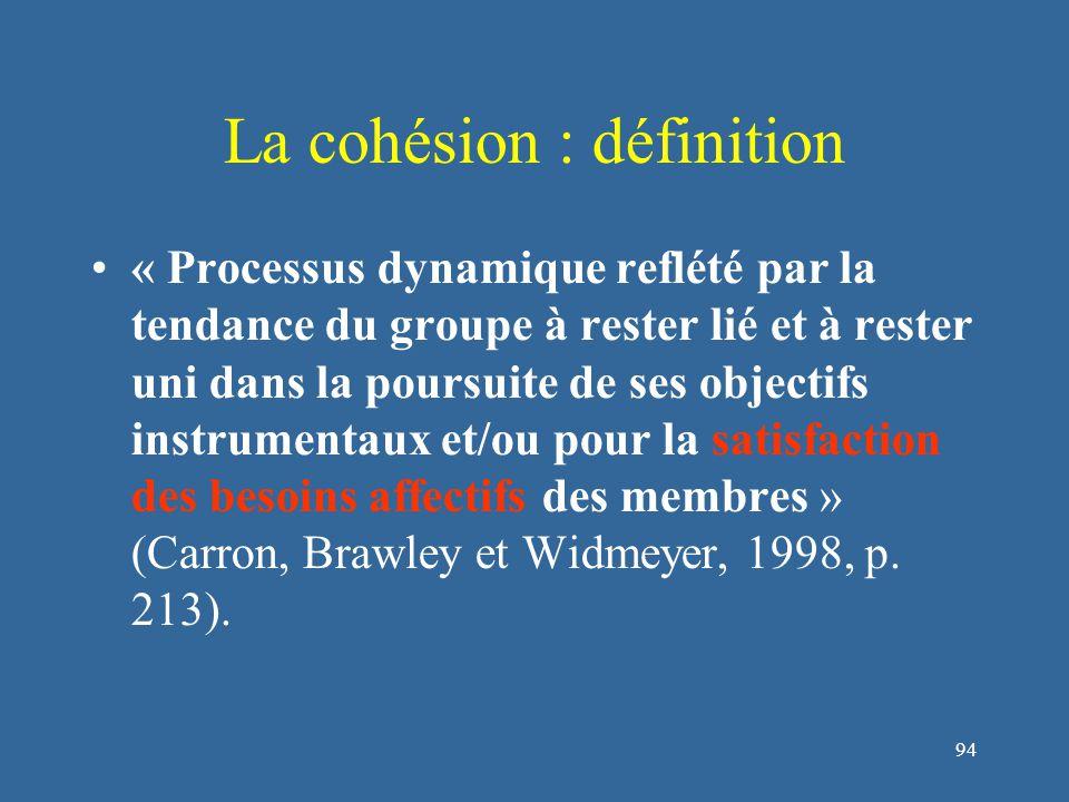 94 La cohésion : définition « Processus dynamique reflété par la tendance du groupe à rester lié et à rester uni dans la poursuite de ses objectifs instrumentaux et/ou pour la satisfaction des besoins affectifs des membres » (Carron, Brawley et Widmeyer, 1998, p.