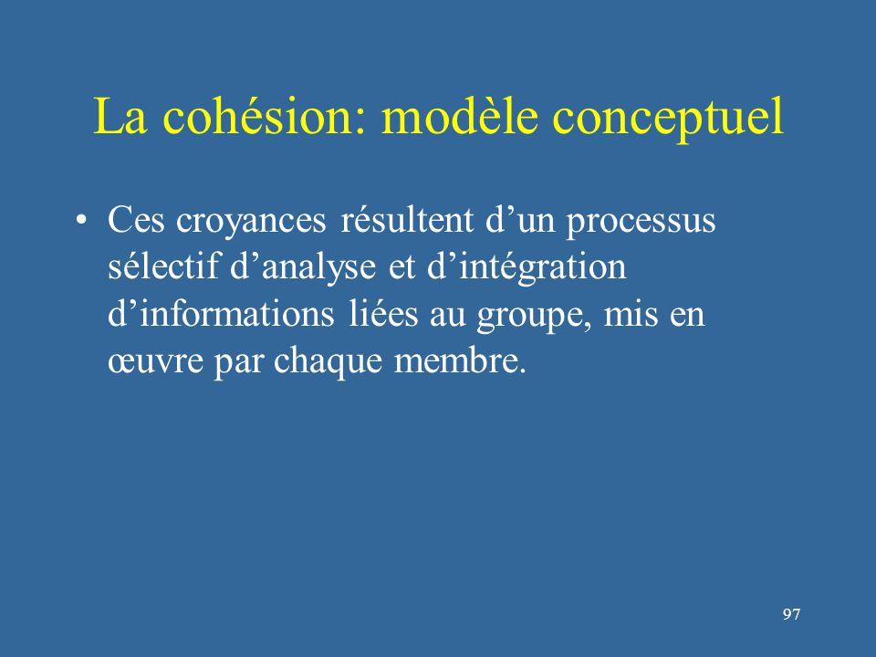 98 La cohésion: modèle conceptuel Les représentations du groupe construites par un membre offrent une estimation raisonnable de divers aspects de l'unité du collectif.