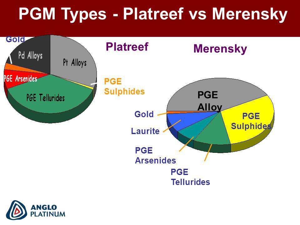 PGE Alloy PGE Sulphides PGE Tellurides PGE Arsenides Laurite Gold Merensky Gold Platreef PGE Sulphides PGM Types - Platreef vs Merensky