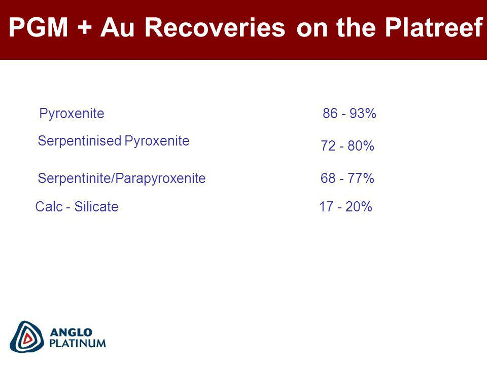 PGM + Au Recoveries on the Platreef Serpentinite/Parapyroxenite68 - 77% Pyroxenite86 - 93% Serpentinised Pyroxenite 72 - 80% Calc - Silicate17 - 20%
