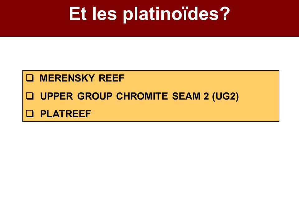 Et les platinoïdes?  MERENSKY REEF  UPPER GROUP CHROMITE SEAM 2 (UG2)  PLATREEF