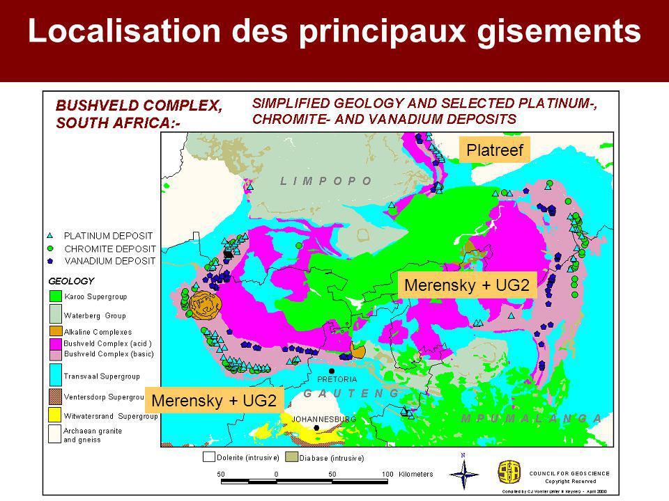Localisation des principaux gisements Platreef Merensky + UG2