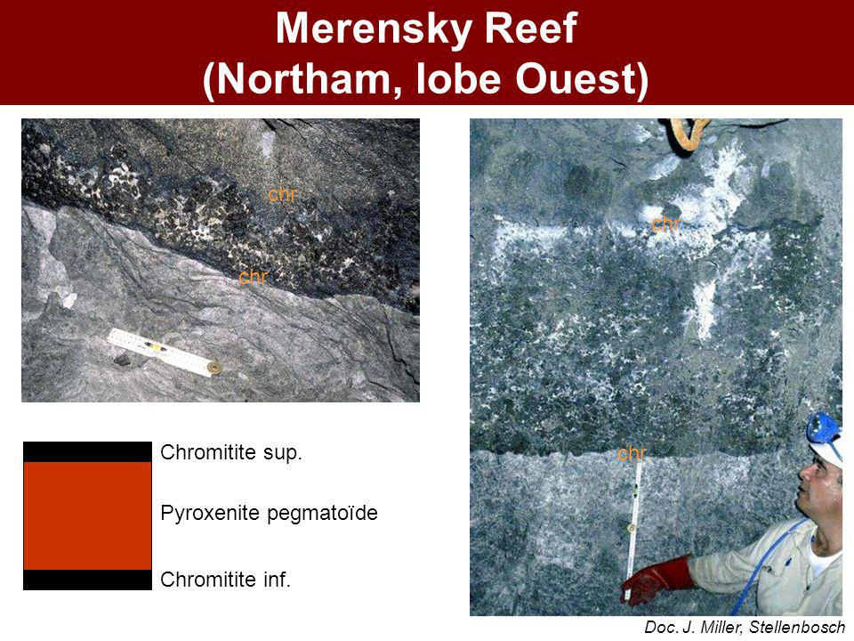 chr Merensky Reef (Northam, lobe Ouest) Chromitite sup. Pyroxenite pegmatoïde Chromitite inf. Doc. J. Miller, Stellenbosch