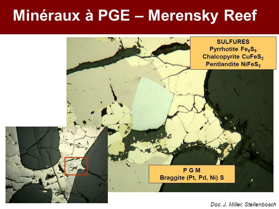 SULFURES Pyrrhotite Fe 8 S 9 Chalcopyrite CuFeS 2 Pentlandite NiFeS 2 P G M Braggite (Pt, Pd, Ni) S Minéraux à PGE – Merensky Reef Doc. J. Miller, Ste