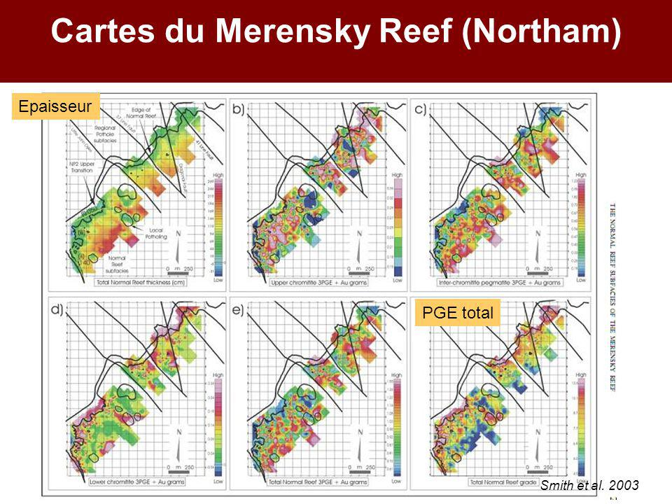 Cartes du Merensky Reef (Northam) Epaisseur PGE total Smith et al. 2003