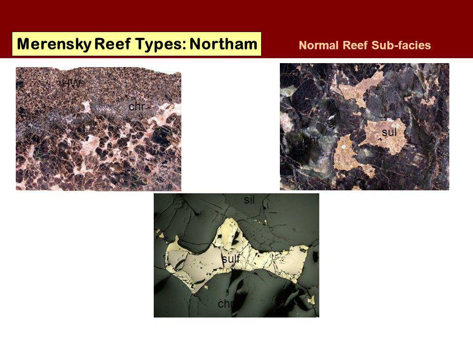 Merensky Reef Types: Northam Normal Reef Sub-facies Base Metal Sulphide: Pyrrhotite Pentlandite Chalcopyrite sulf chr sil sul chr HW