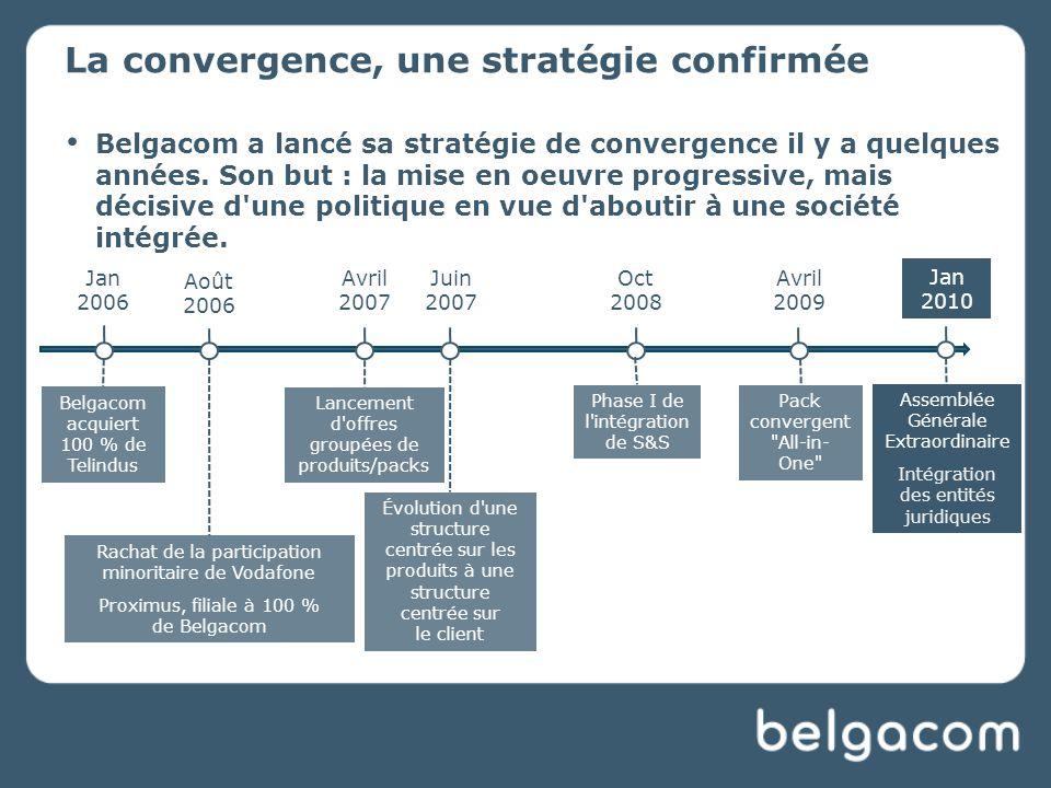 La convergence, une stratégie confirmée Belgacom a lancé sa stratégie de convergence il y a quelques années.