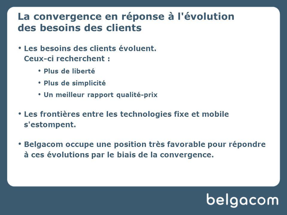 La convergence en réponse à l évolution des besoins des clients Les besoins des clients évoluent.