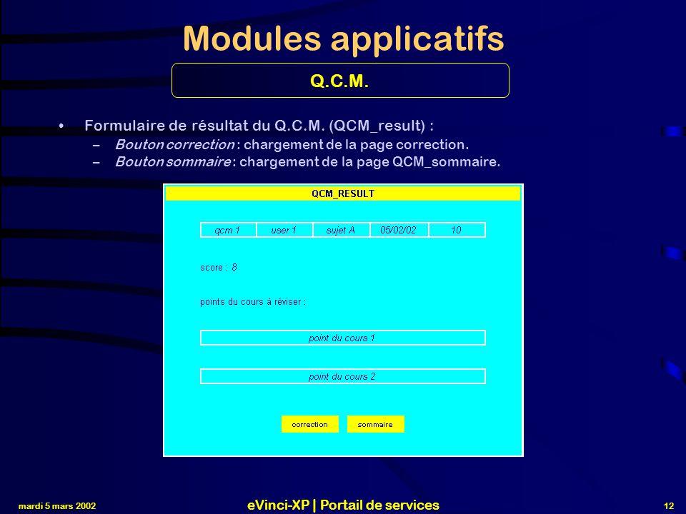 mardi 5 mars 2002 eVinci-XP | Portail de services 12 Modules applicatifs Formulaire de résultat du Q.C.M.