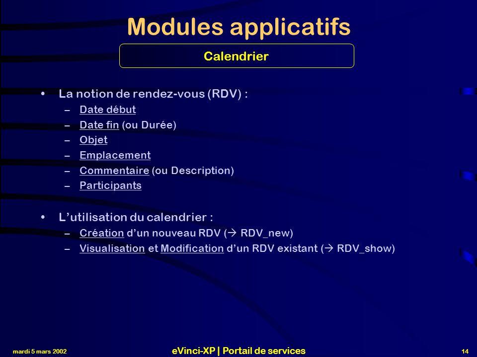 mardi 5 mars 2002 eVinci-XP | Portail de services 14 Modules applicatifs La notion de rendez-vous (RDV) : –Date début –Date fin (ou Durée) –Objet –Emplacement –Commentaire (ou Description) –Participants L'utilisation du calendrier : –Création d'un nouveau RDV (  RDV_new) –Visualisation et Modification d'un RDV existant (  RDV_show) Calendrier