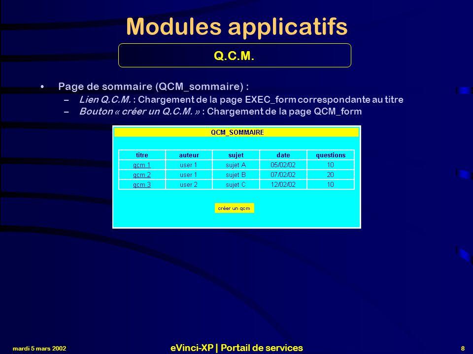 mardi 5 mars 2002 eVinci-XP | Portail de services 8 Modules applicatifs Page de sommaire (QCM_sommaire) : –Lien Q.C.M.