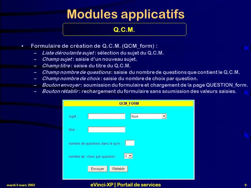 mardi 5 mars 2002 eVinci-XP | Portail de services 10 Modules applicatifs Formulaire de création de Questions.