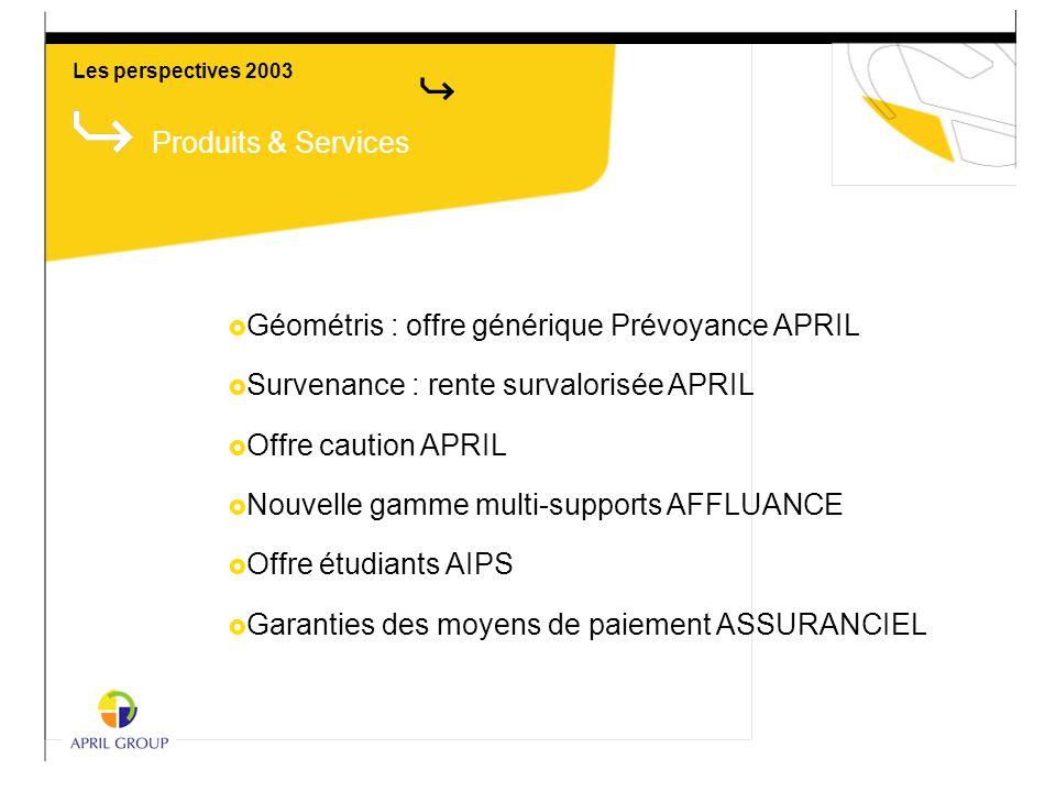 Les perspectives 2003 Produits & Services  Géométris : offre générique Prévoyance APRIL  Survenance : rente survalorisée APRIL  Offre caution APRIL