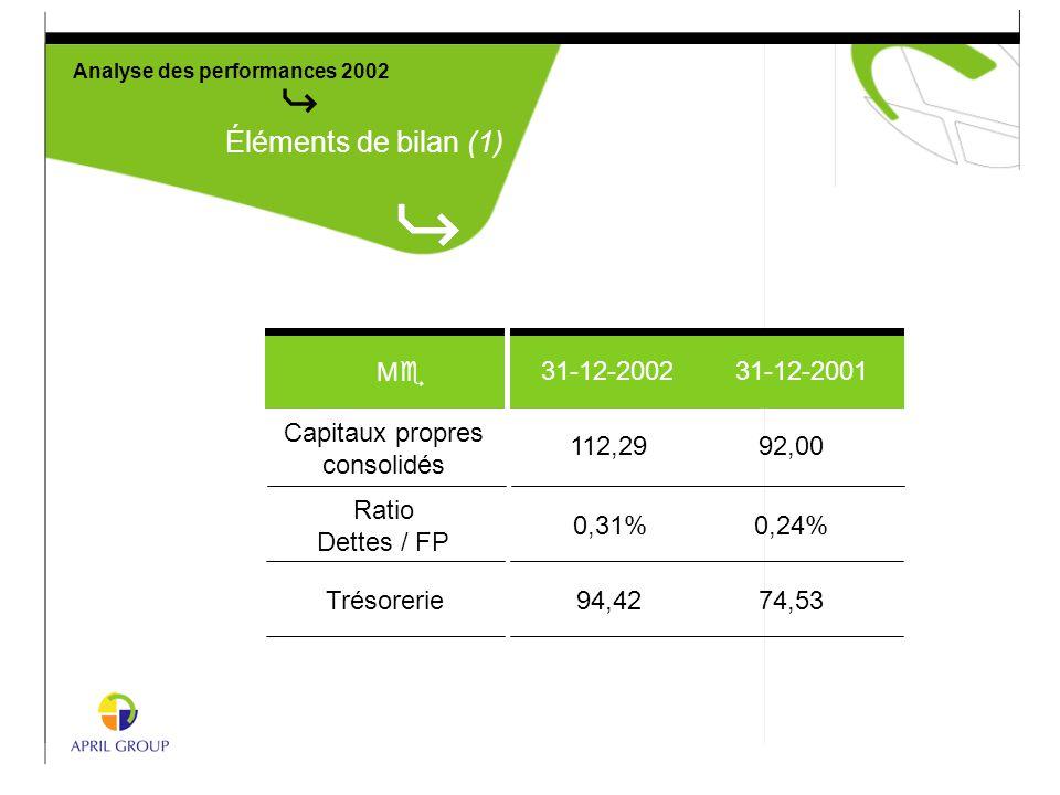 Analyse des performances 2002 Éléments de bilan (1) 31-12-2002 31-12-2001 MeMe Capitaux propres consolidés Ratio Dettes / FP Trésorerie 112,2992,00 0,