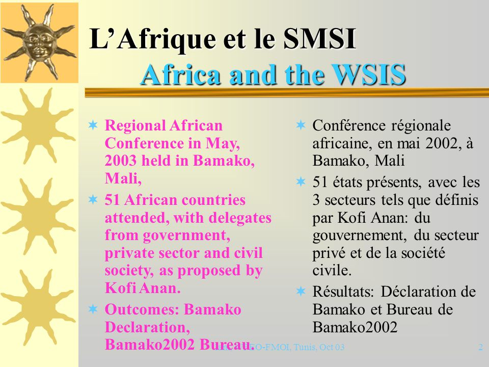 Iam, WFEO-FMOI, Tunis, Oct 0312 Conclusions Concluding Remarks  Africa is well included in the preparatory process of WSIS.