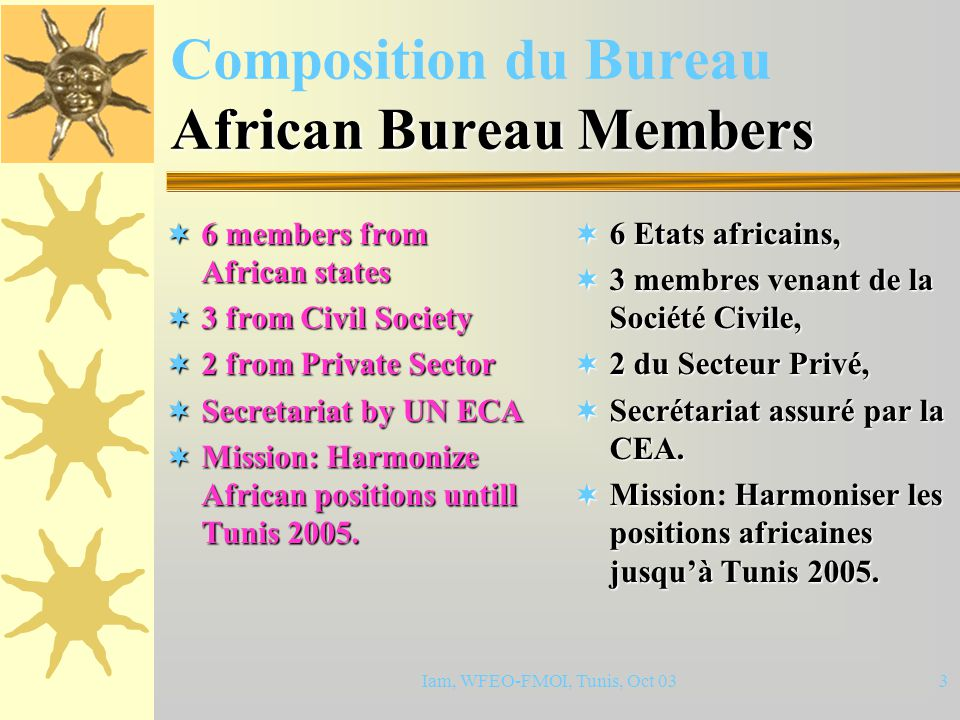 Iam, WFEO-FMOI, Tunis, Oct 033 African Bureau Members Composition du Bureau African Bureau Members  6 members from African states  3 from Civil Society  2 from Private Sector  Secretariat by UN ECA  Mission: Harmonize African positions untill Tunis 2005.
