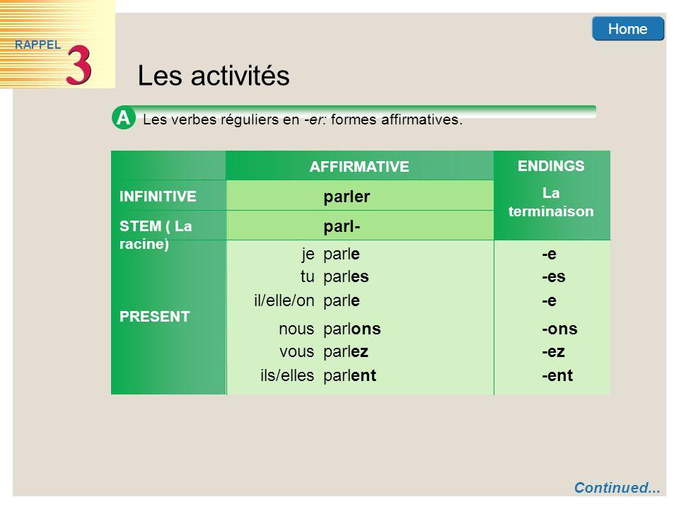 Home Les activités 3 3 RAPPEL A Les verbes réguliers en -er: formes affirmatives.