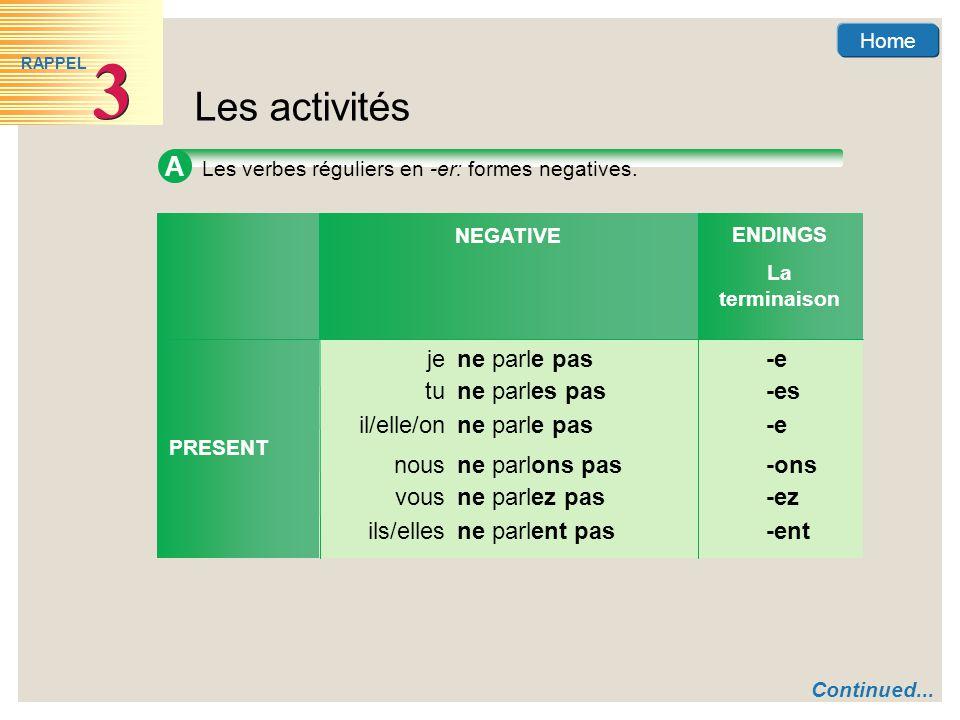 Home Les activités 3 3 RAPPEL A Les verbes réguliers en -er: formes negatives.